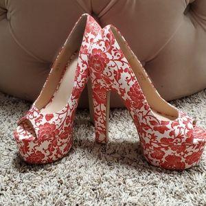 Floral Design Platform Heels